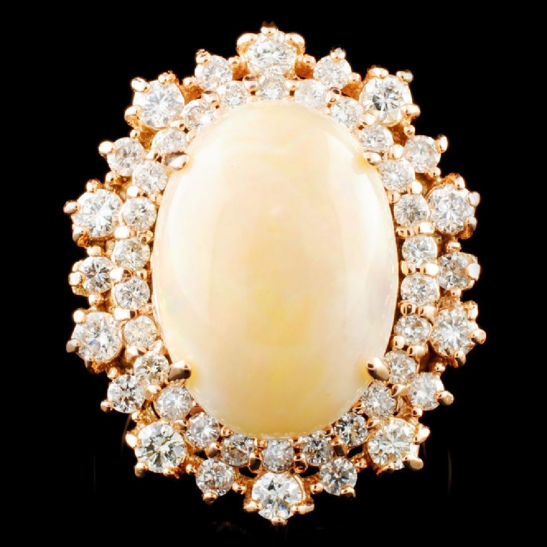 14K Gold 5.82ct Opal & 1.47ctw Diamond Ring