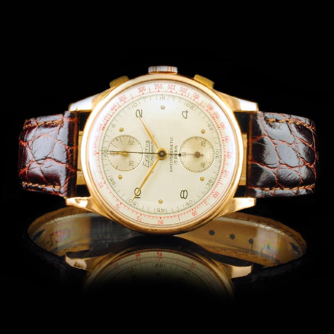 EXACTUS 18K Rose Gold 36mm Chronograph Watch