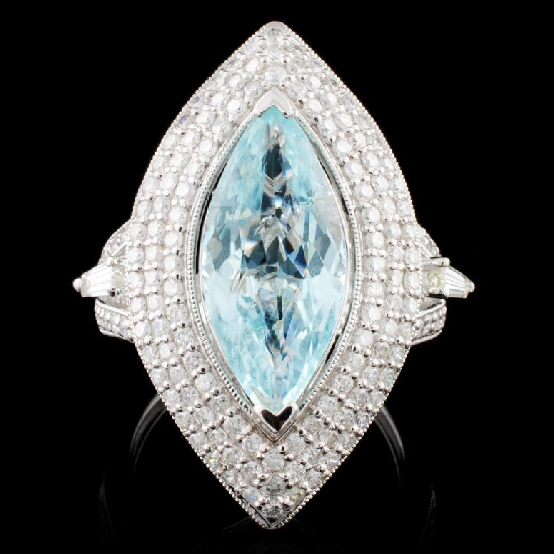 18K White Gold 3.98ct Tourmaline & 1.60ct Diamond