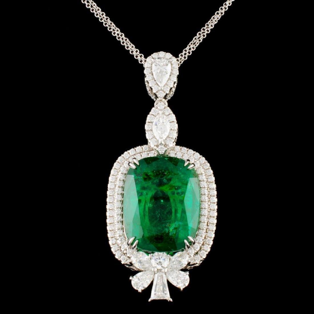 18K Gold 21.83ct Emerald & 4.44ctw Diamond Pendant