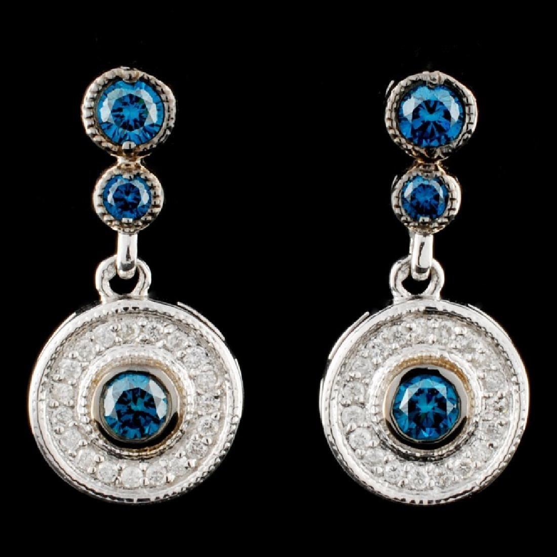 14K Gold 0.88ctw Fancy Diamond Earrings