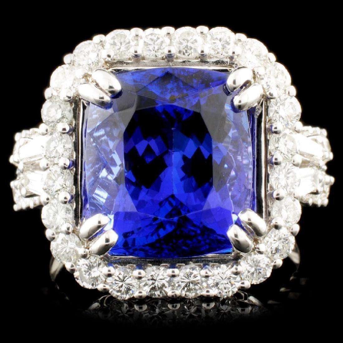 18K Gold 7.21ct Tanzanite & 1.35ctw Diamond Ring