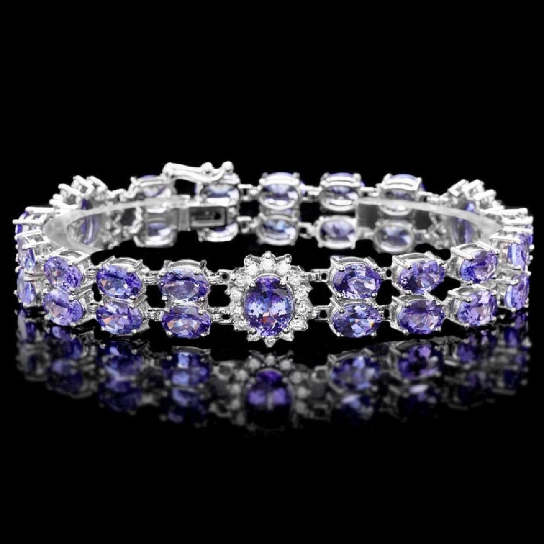 `14k Gold 29.00ct Tanzanite & 1.50ct Diamond Brace