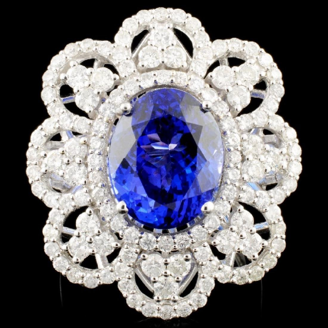 18K Gold 7.19ct Tanzanite & 2.25ctw Diamond Ring