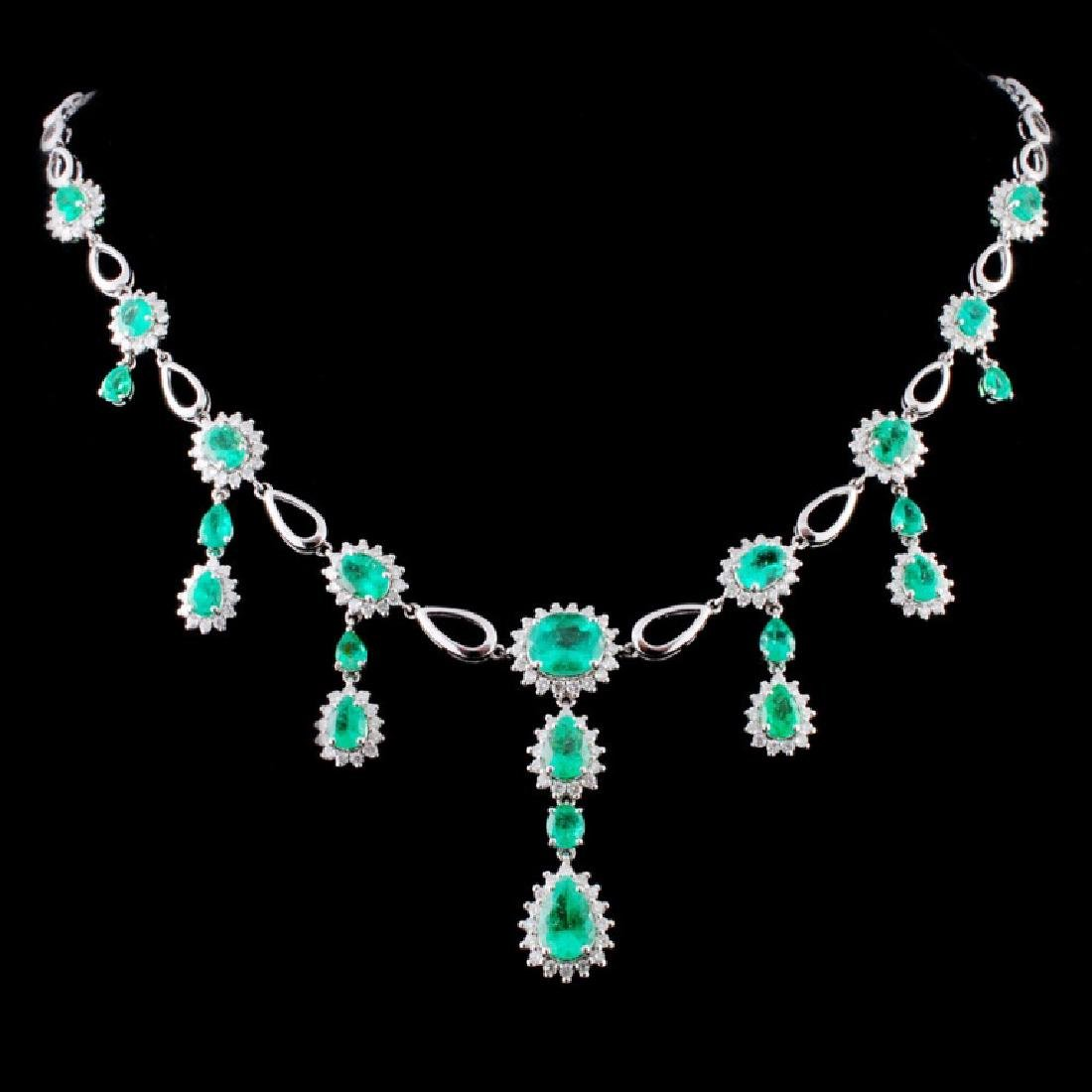 18K Gold 8.58ct Emerald & 2.43ctw Diamond Necklace