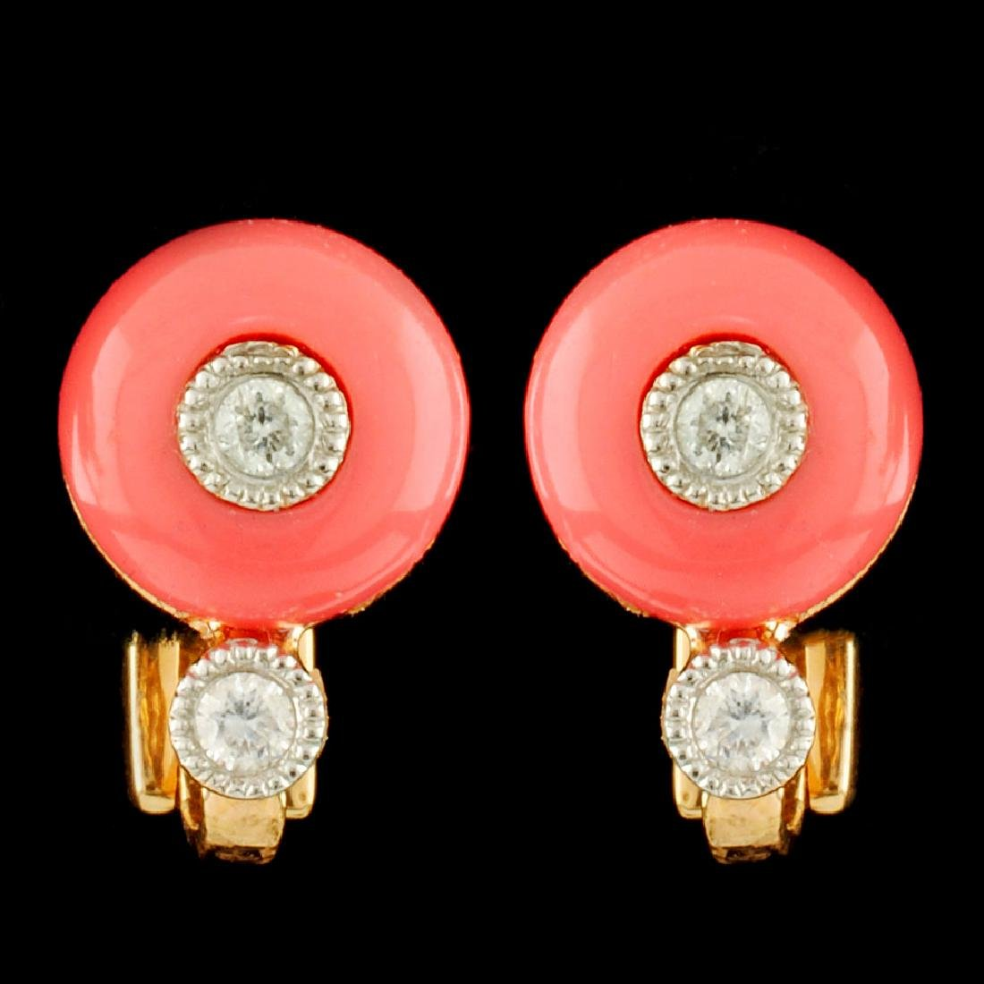 18K Gold Coral & 0.10ctw Diamond Earrings