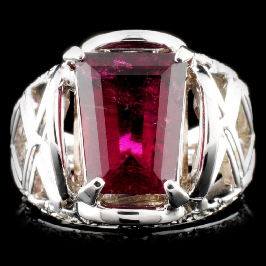 14K Gold 4.84ct Tourmaline & 0.25ctw Diamond Ring