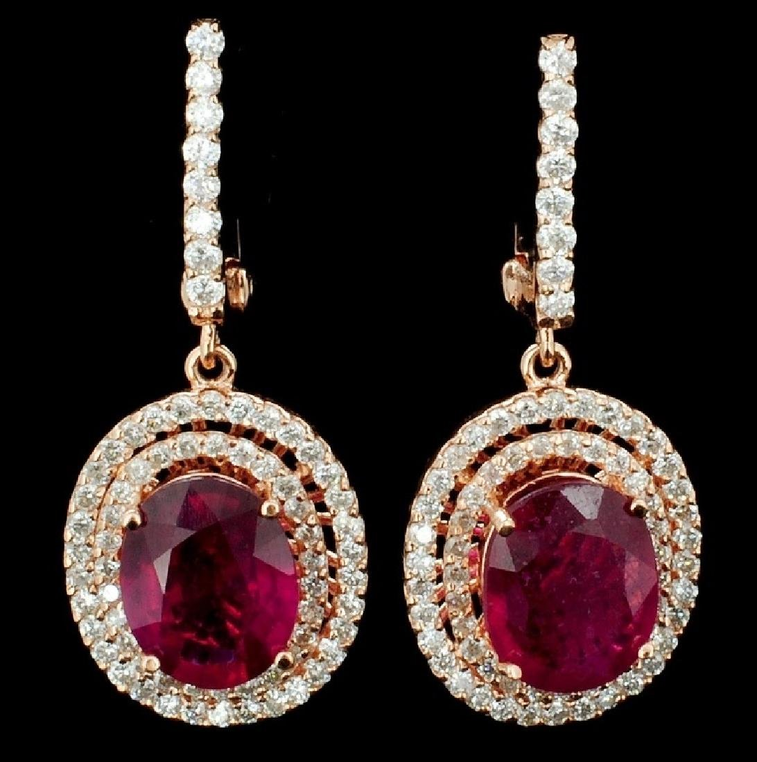 14K Rose Gold 3.91ct Ruby & 0.95ct Diamond Earring