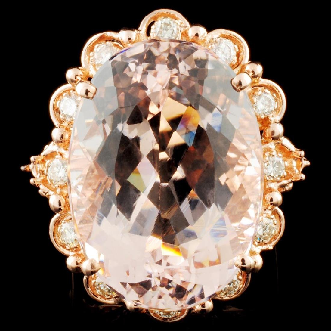 14K Gold 23.77ct Morganite & 2.10ctw Diamond Ring