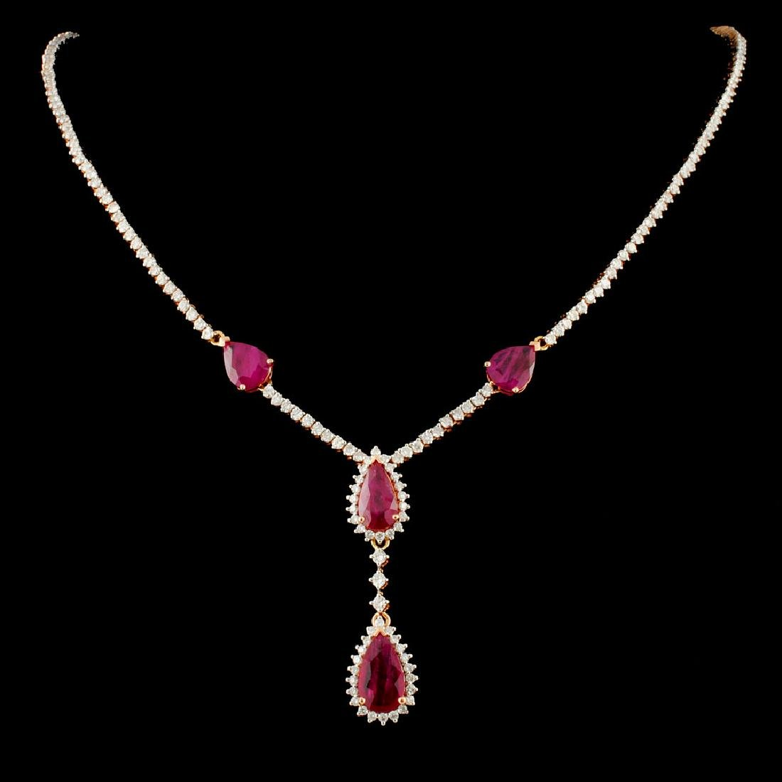 14K Gold 6.93ct Ruby & 3.54ctw Diamond Necklace