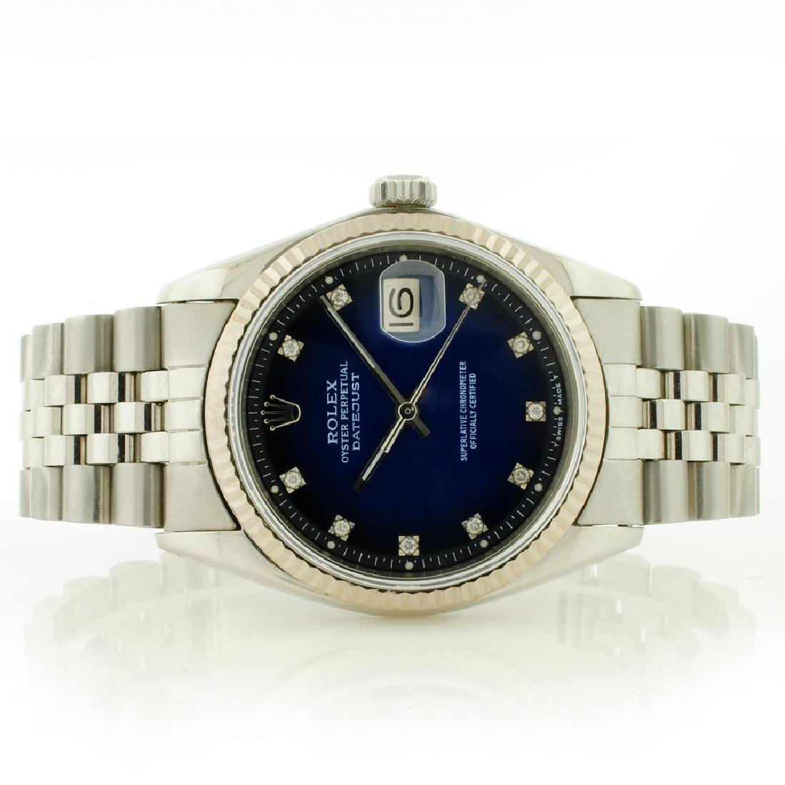 Rolex 36MM SS & 18K DateJust Blue Vignette Diamond