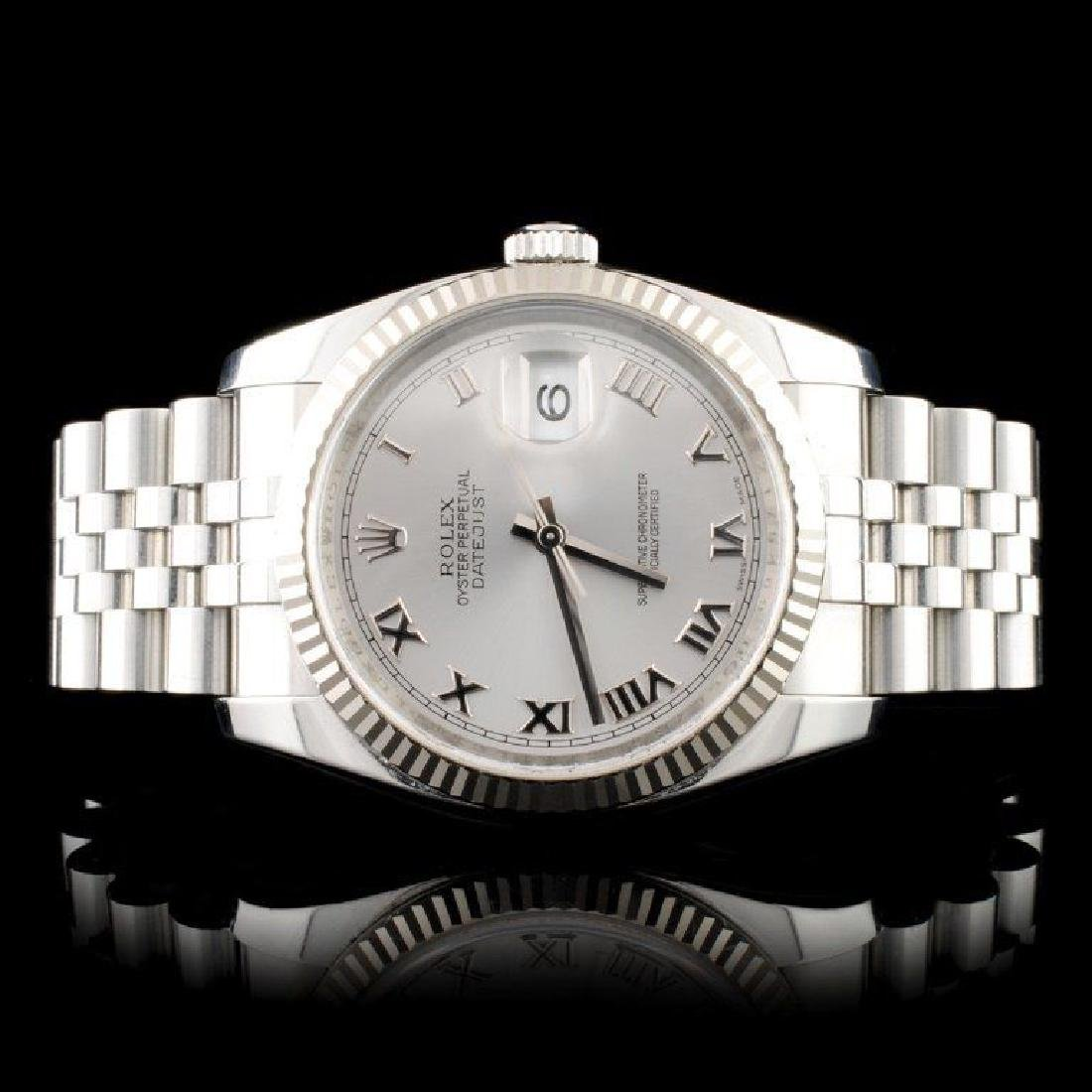Rolex 18K & SS DateJust 116234 Rodium Roman Super