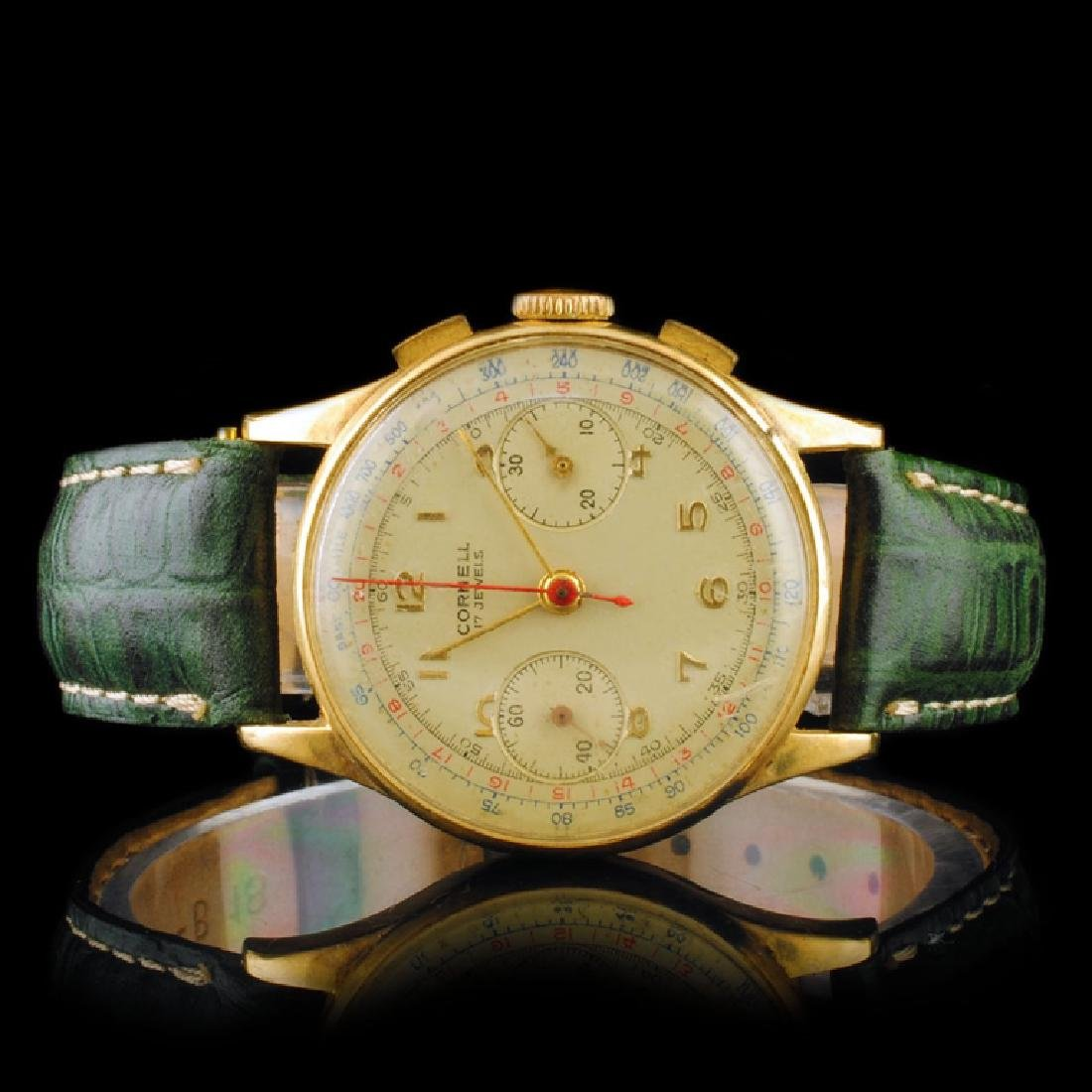 Cornell Swiss 14K Gold 17-Jewel Chronograph 34mm W