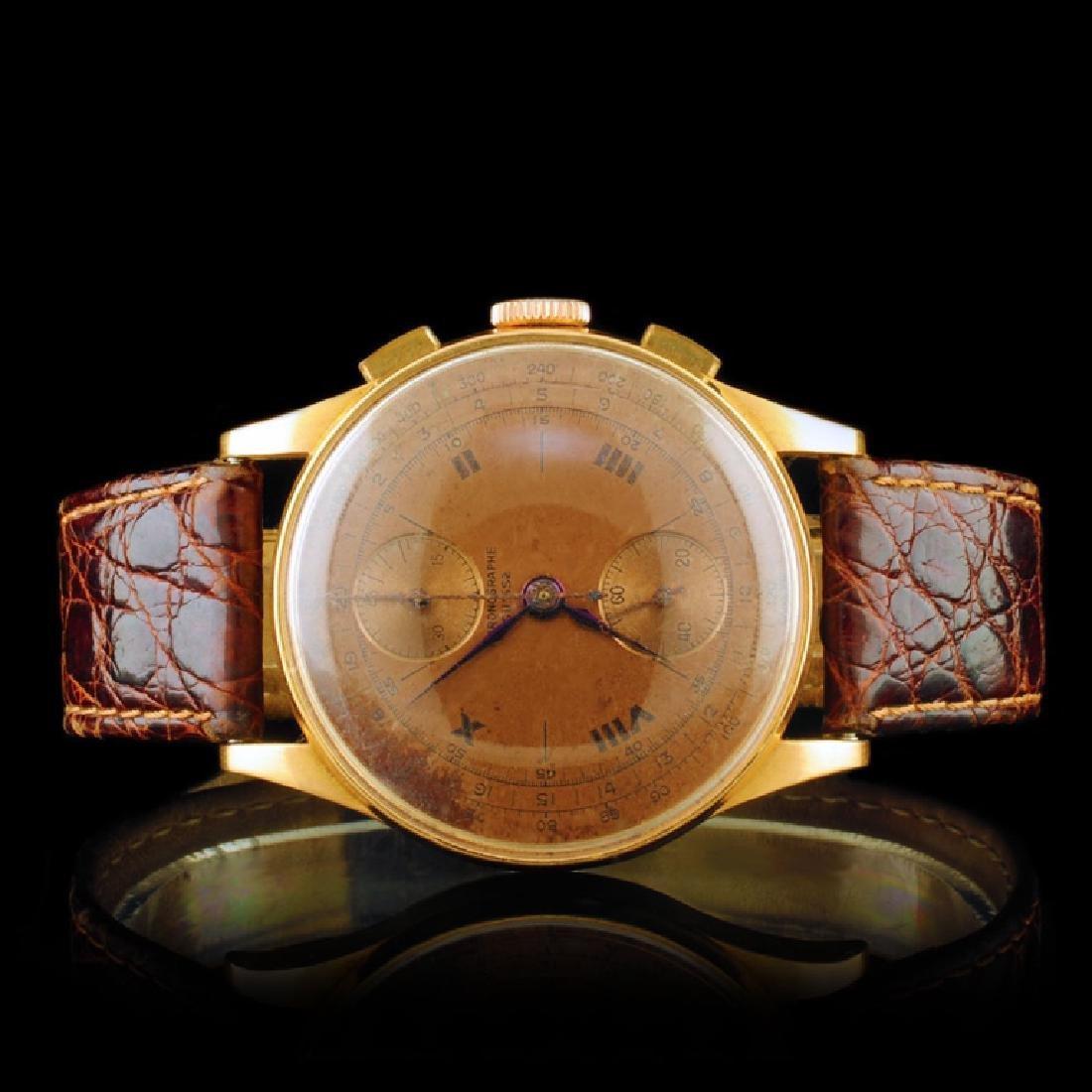 Chronographe Suisse 18K Gold 36mm 17 Jewel Watch
