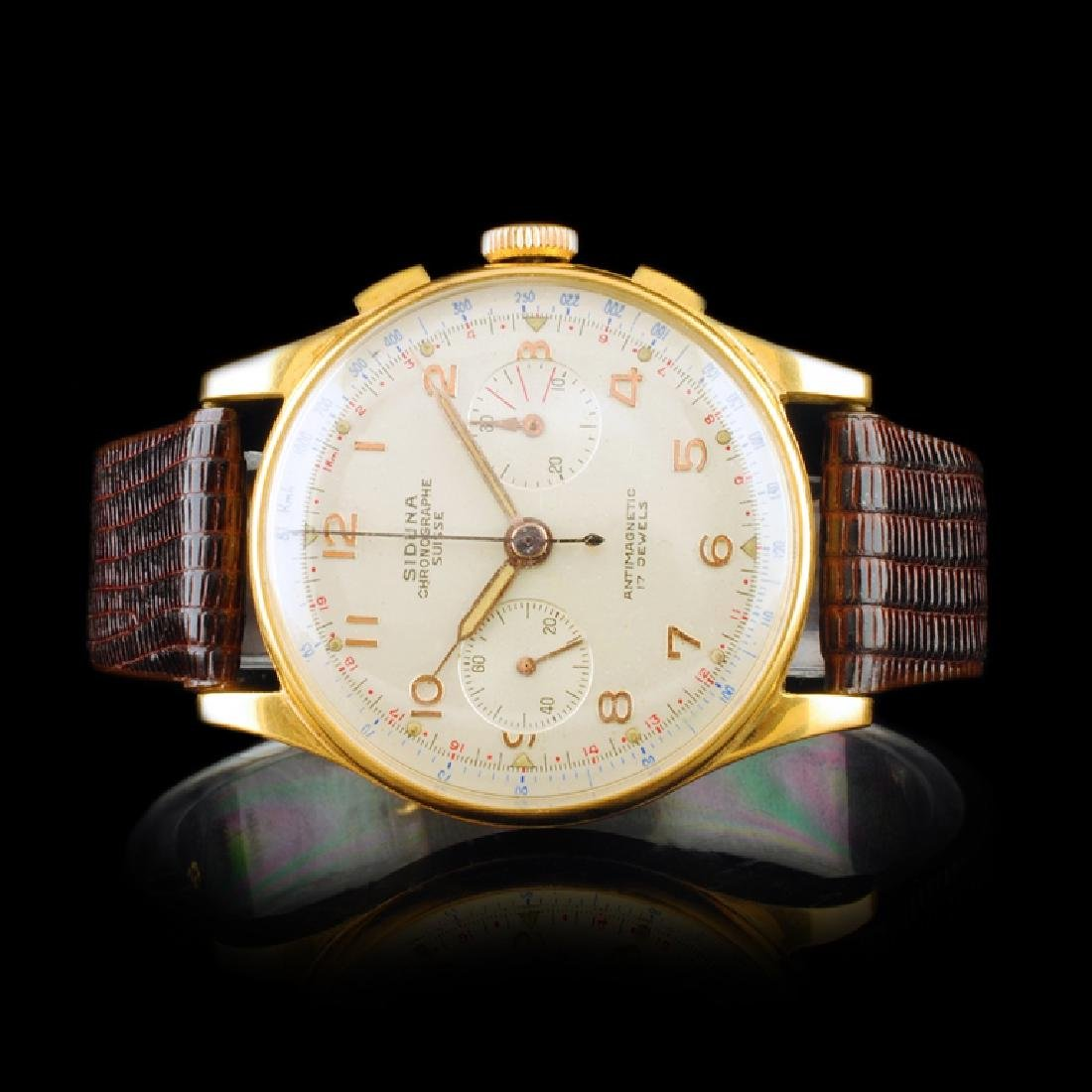 SIDUNA Swiss 18K Gold 17-Jewel 40mm Chronograph
