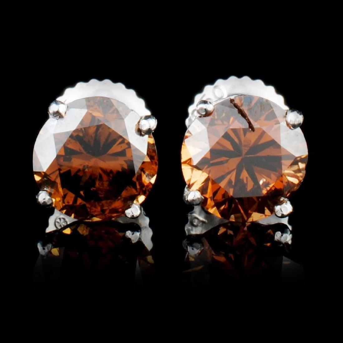 14K Gold 2.16ctw Fancy Color Diamond Earrings