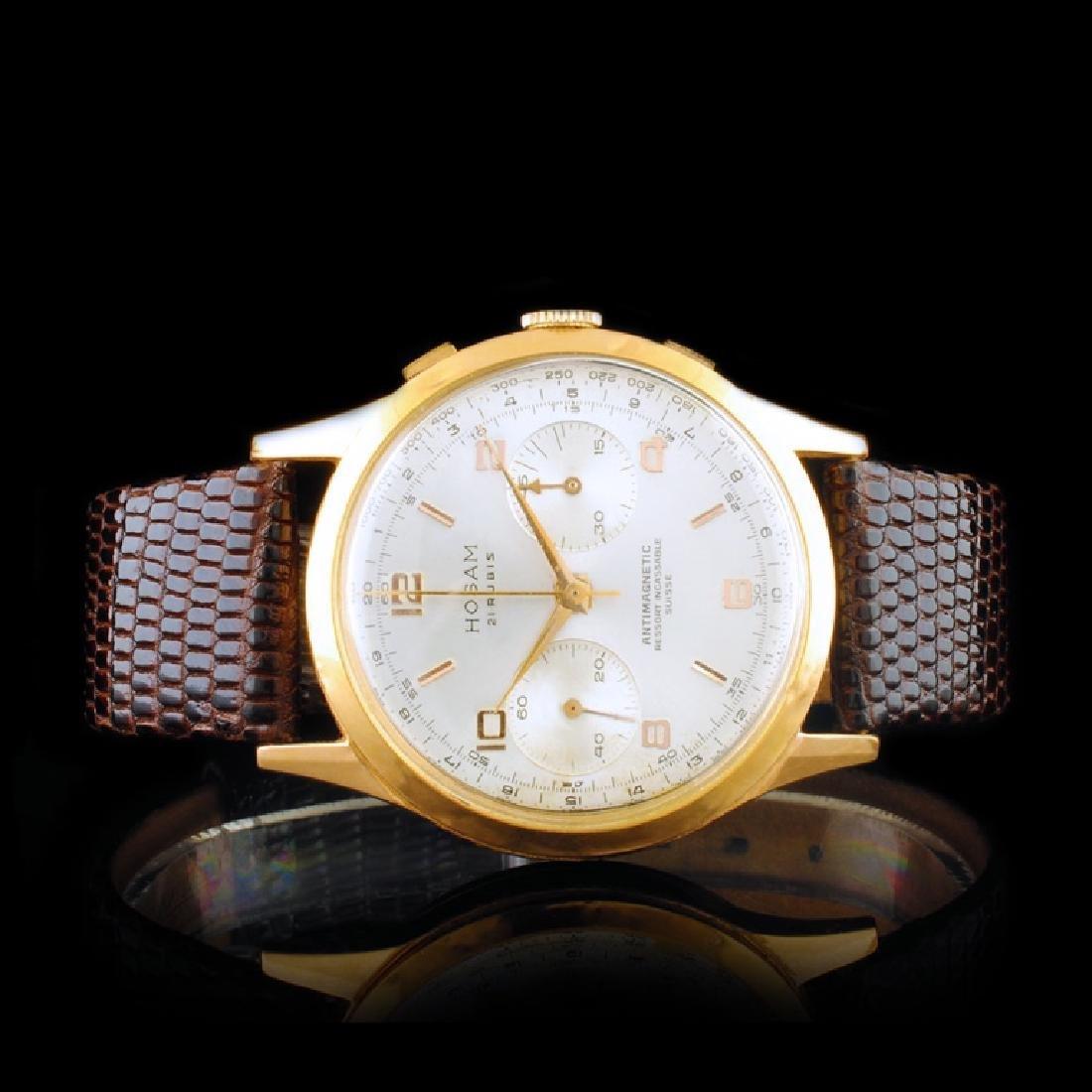 HOSAM 18K Gold 36mm 21 Jewel Wristwatch