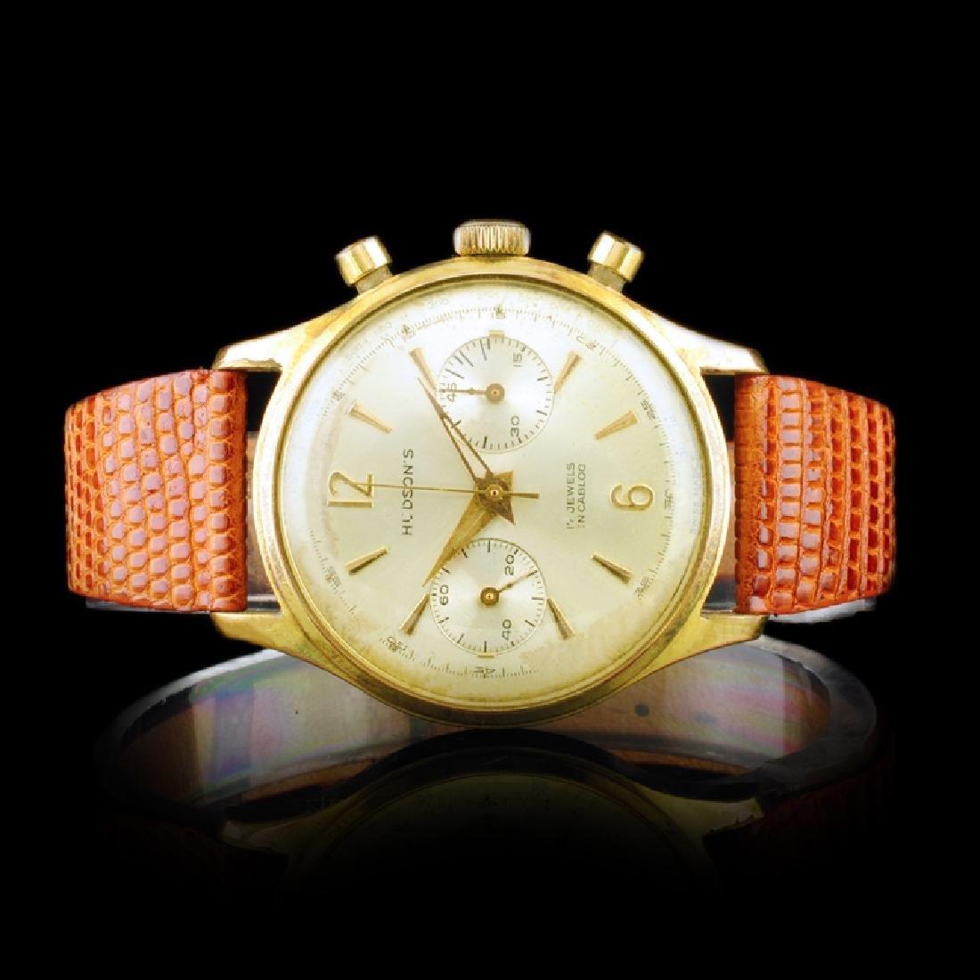 HUDSONS Swiss 17-Jewel 36mm Chronograph Watch
