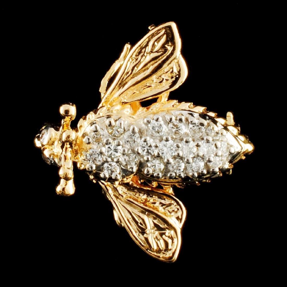 14K Gold 0.27ctw Diamond Brooch