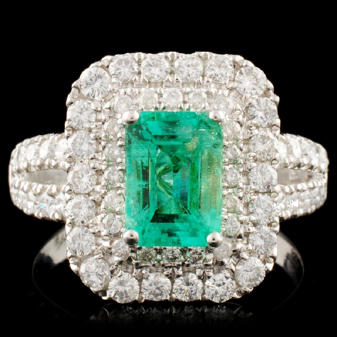 18K Gold 1.32ct Emerald & 1.19ctw Diamond Ring