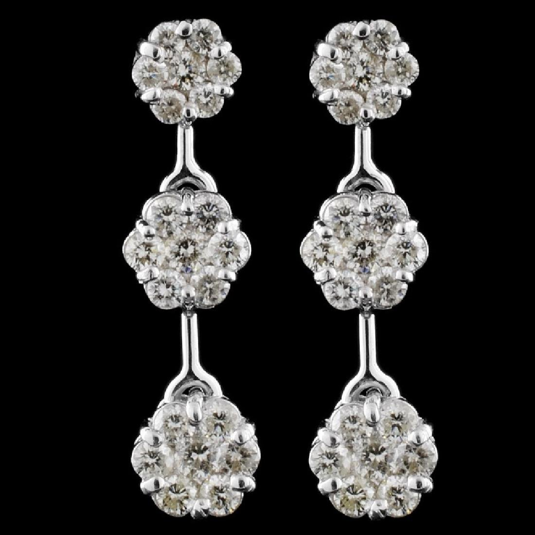 14k White Gold 2.10ctw Diamond Earrings