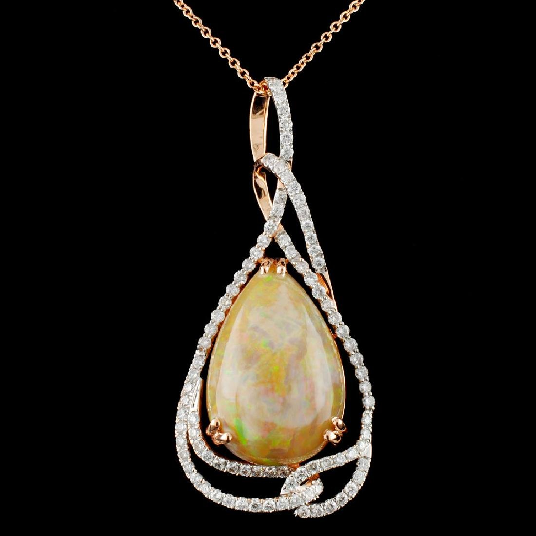 14K Gold 14.32ct Opal & 1.20ctw Diamond Pendant