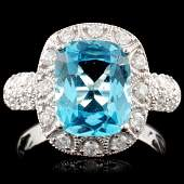 14K Gold 324ct Topaz 050ctw Diamond Ring