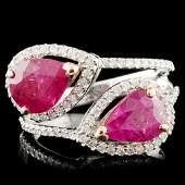 14K Gold 324ctw Ruby 032ctw Diamond Ring