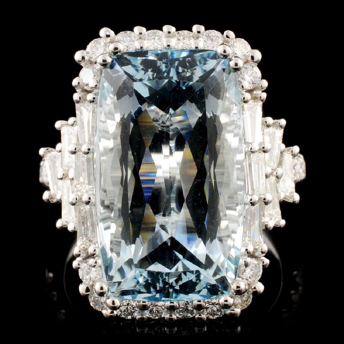 18K Gold 11.09ct Aquamarine & 1.47ctw Diamond Ring