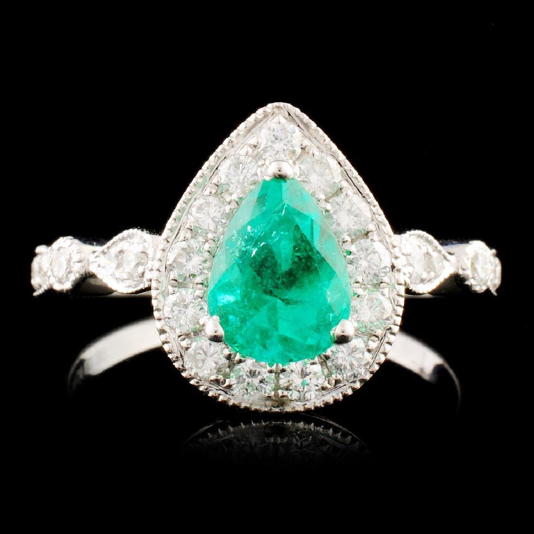 18K Gold 0.89ct Emerald & 0.51ctw Diamond Ring