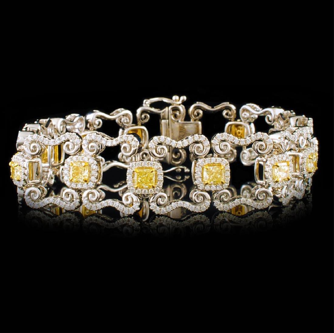 18k White Gold 8.24ctw Fancy Yellow Diamond Bracel
