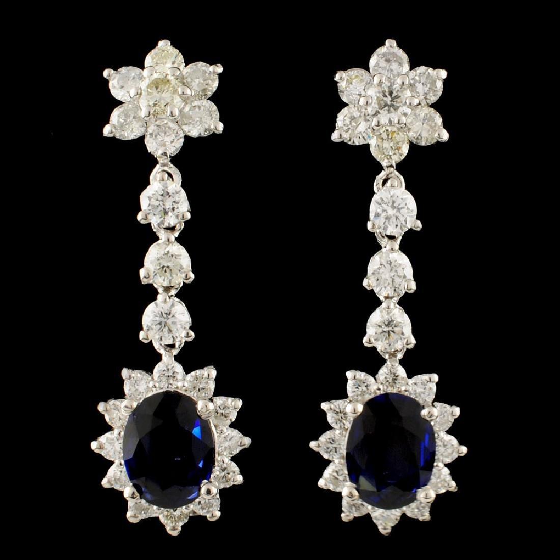 14K Gold 1.92ct Sapphire & 2.41ctw Diamond Earring