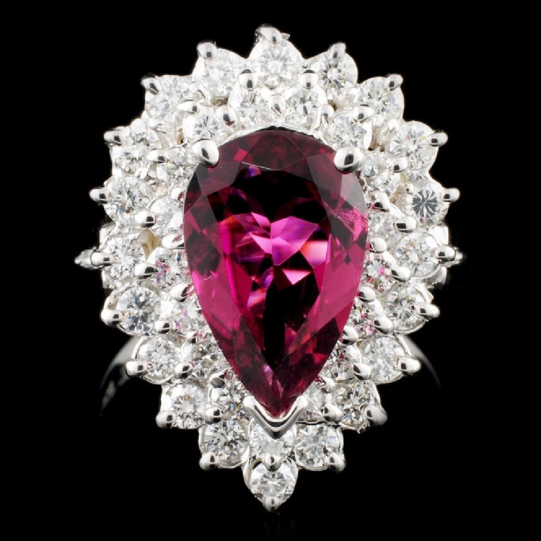 14K Gold 1.80ct Tourmaline & 1.06ctw Diamond Ring