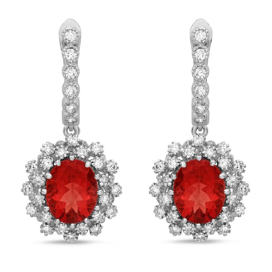 14K Gold 5.00ct Ruby & 1.30ct Diamond Earrings