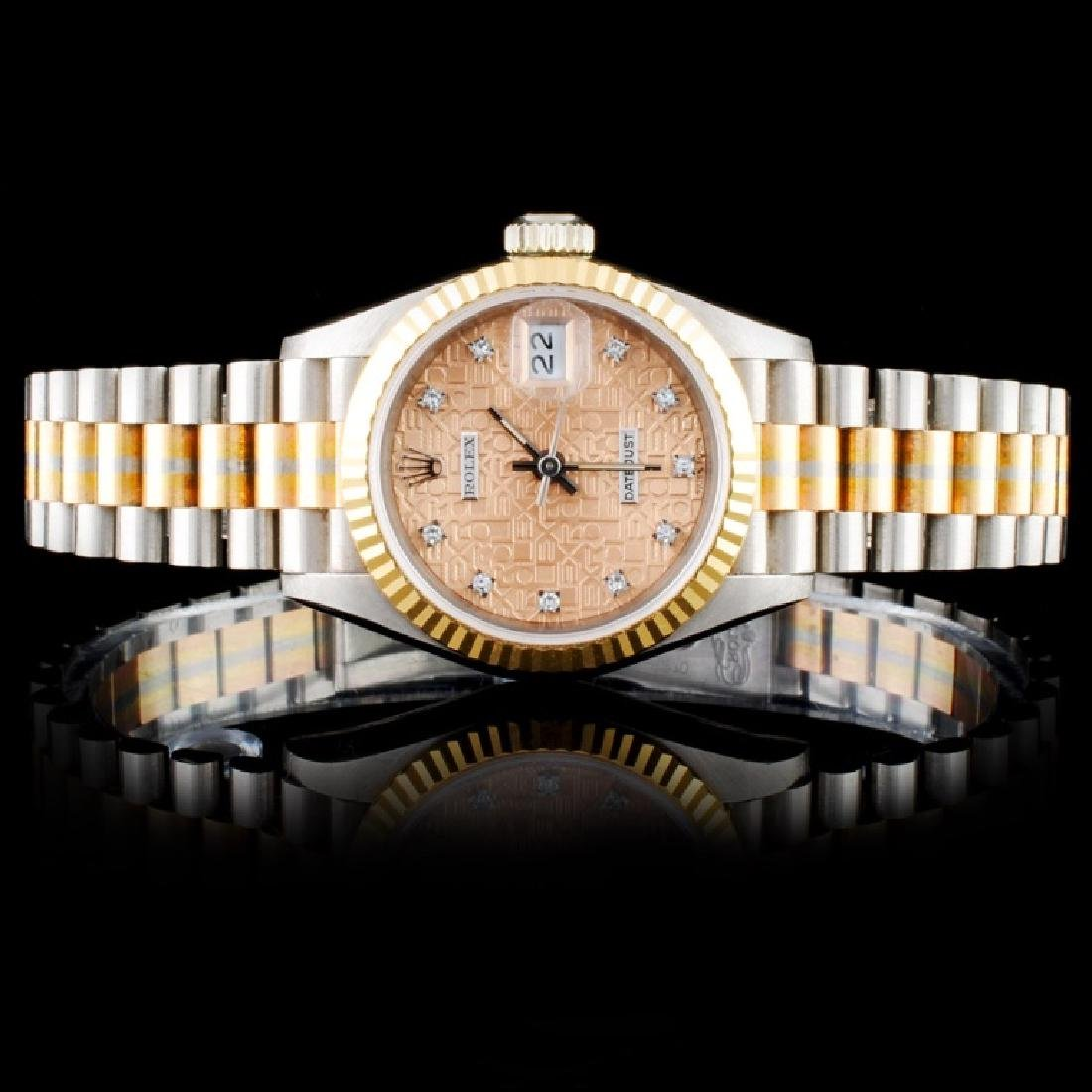 Rolex Tridor Gold DateJust Diamond Ladies Watch