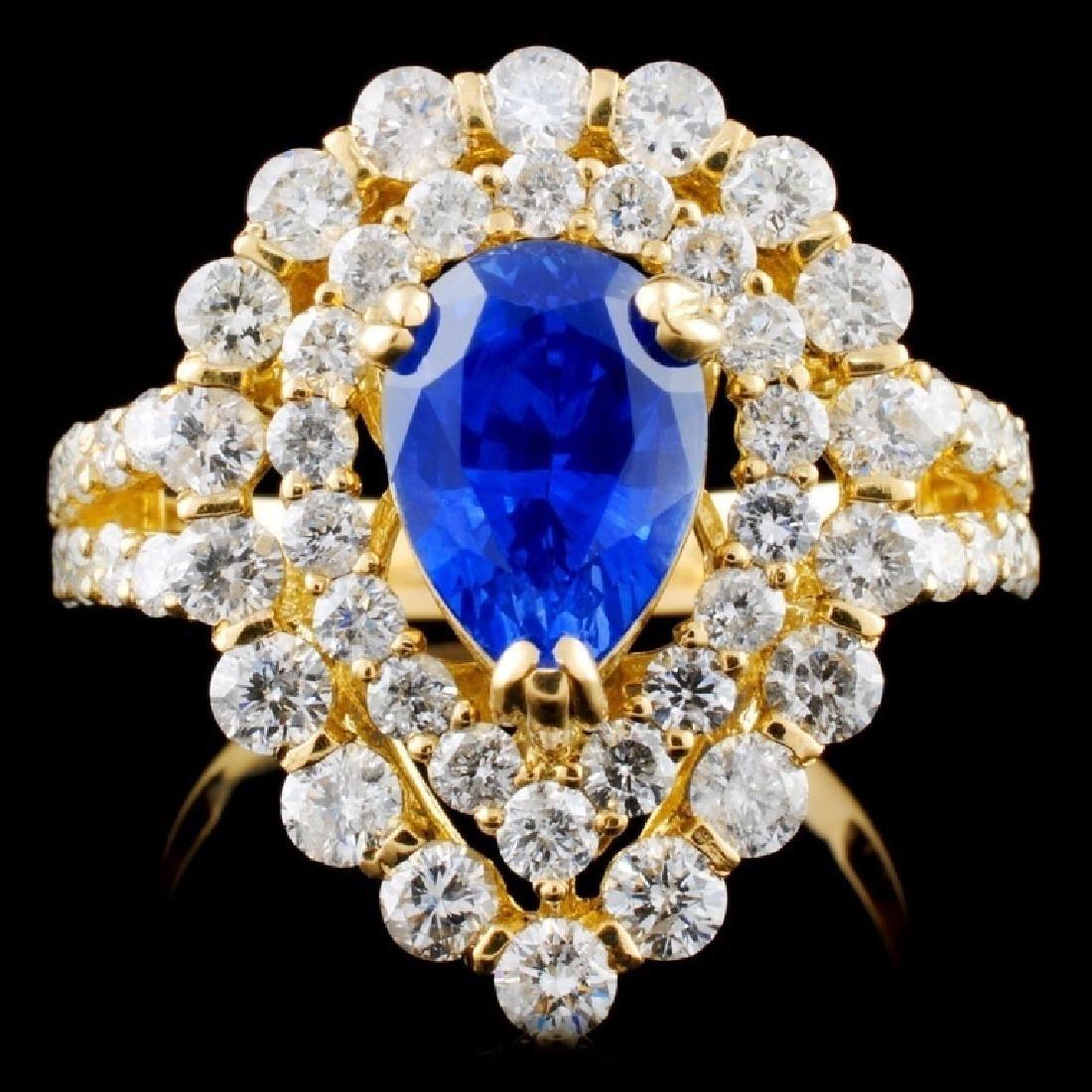 18K Y Gold 2.18ct Sapphire & 1.91ct Diamond Ring