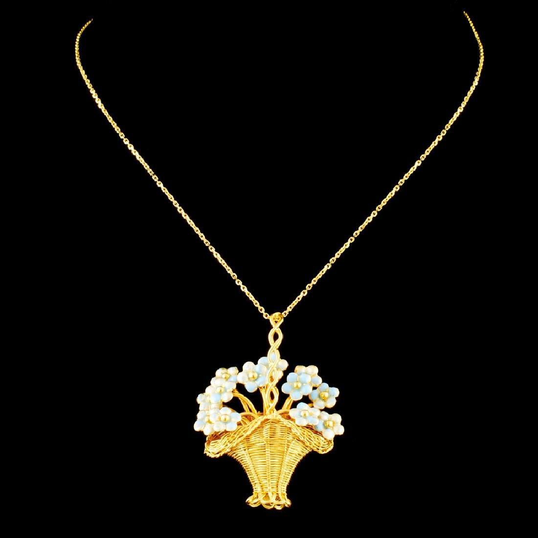 18K Gold Enamel Pendant