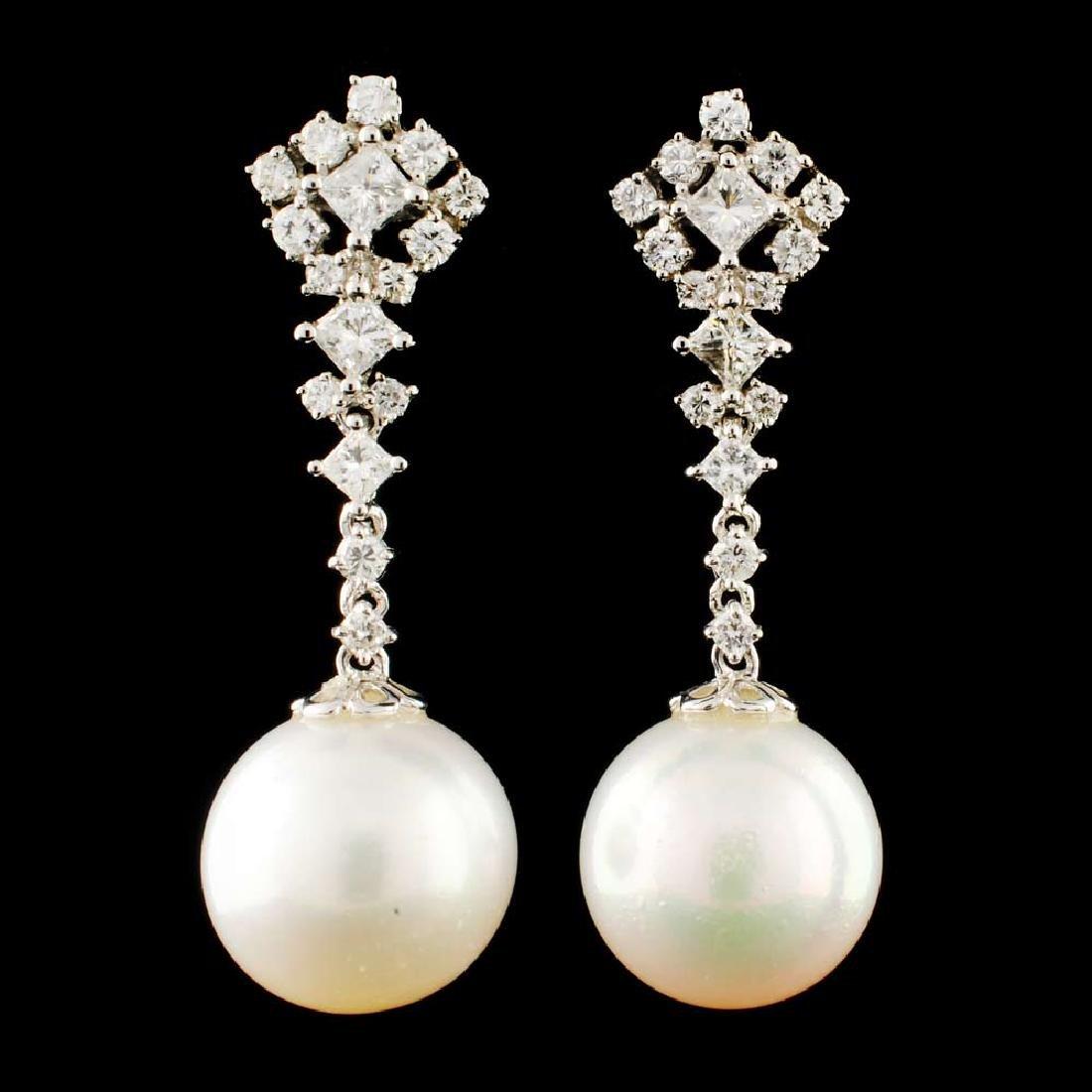 18K Gold 11.00MM Pearl & 0.92ctw Diamond Earrings