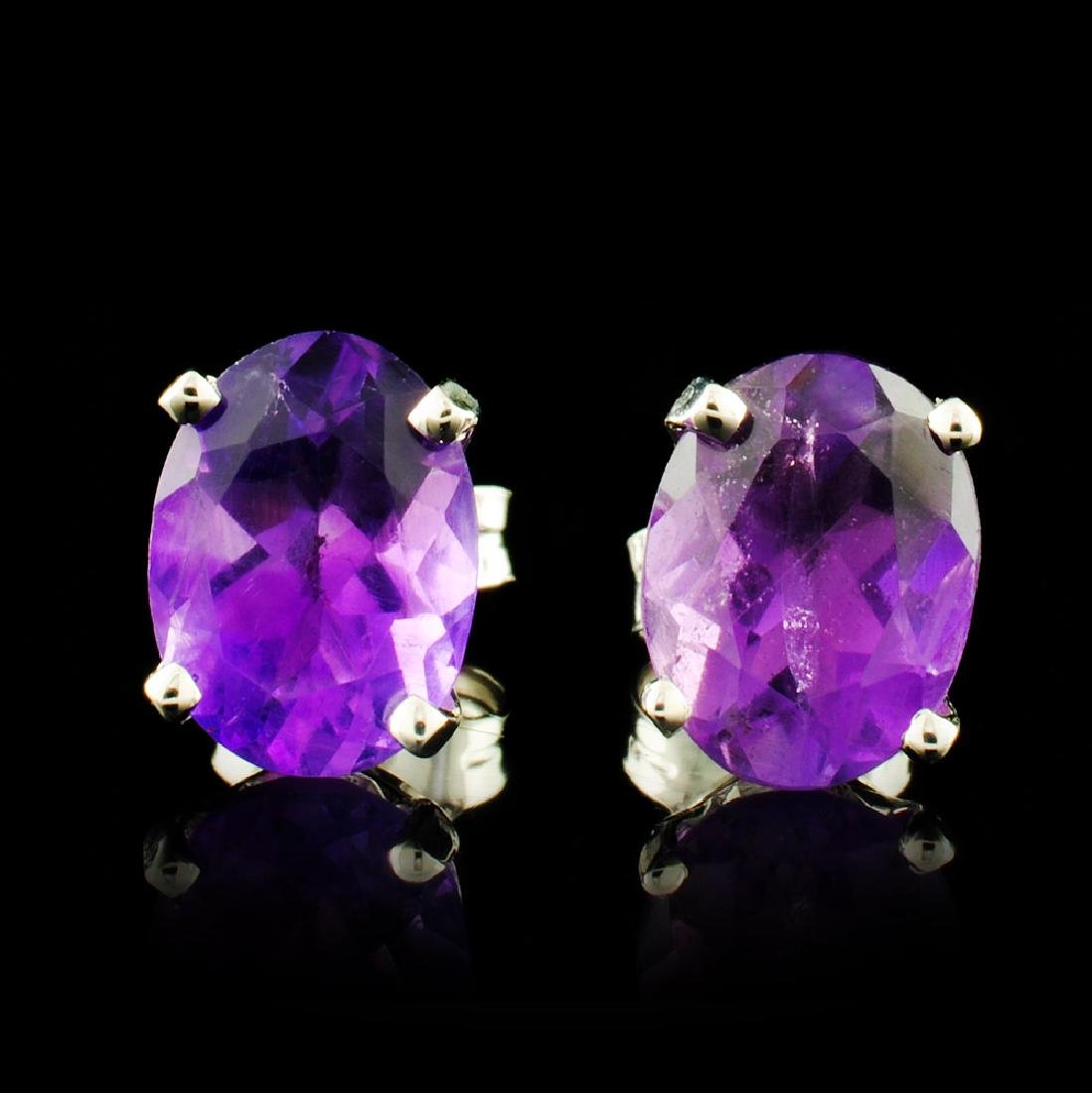 14K Gold 2.00ct Amethyst Earrings