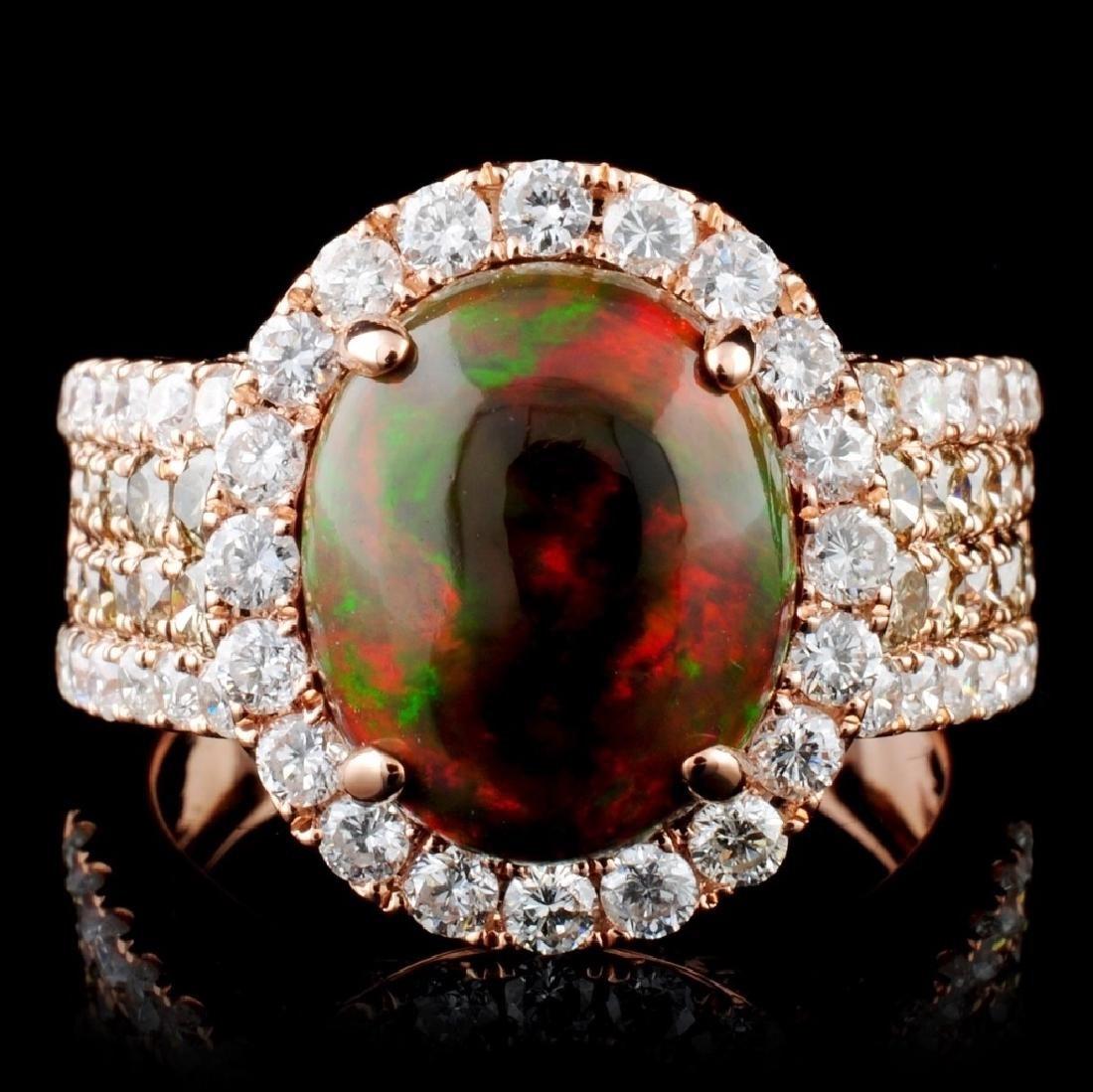 14K Gold 2.31ct Opal & 1.77ct Fancy Diamond Ring