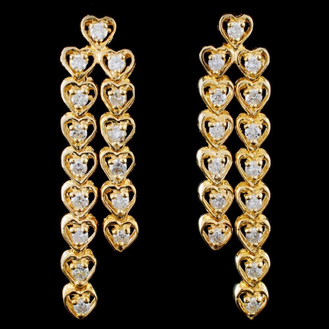 14K Yellow Gold 1.00ct Diamond Earrings