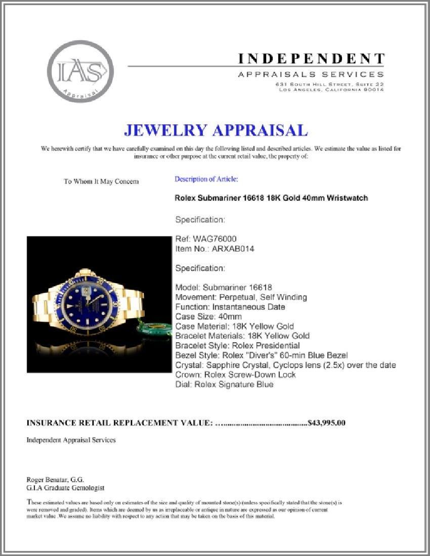 Rolex Submariner 16618 18K Gold 40mm Wristwatch - 7