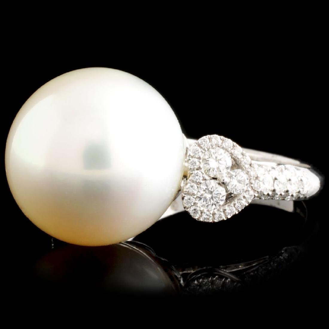 18K Gold 14.50mm Pearl & 0.71ctw Diamond Ring - 2