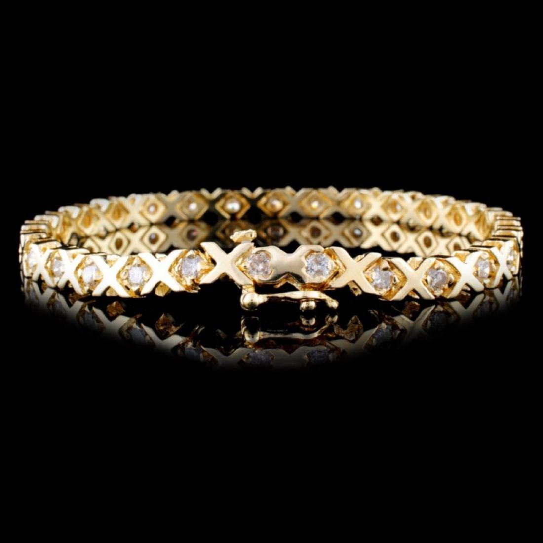 14K Yellow Gold 3.00ctw Diamond Bracelet - 2