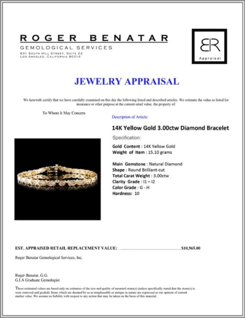 14K Yellow Gold 3.00ctw Diamond Bracelet - 3