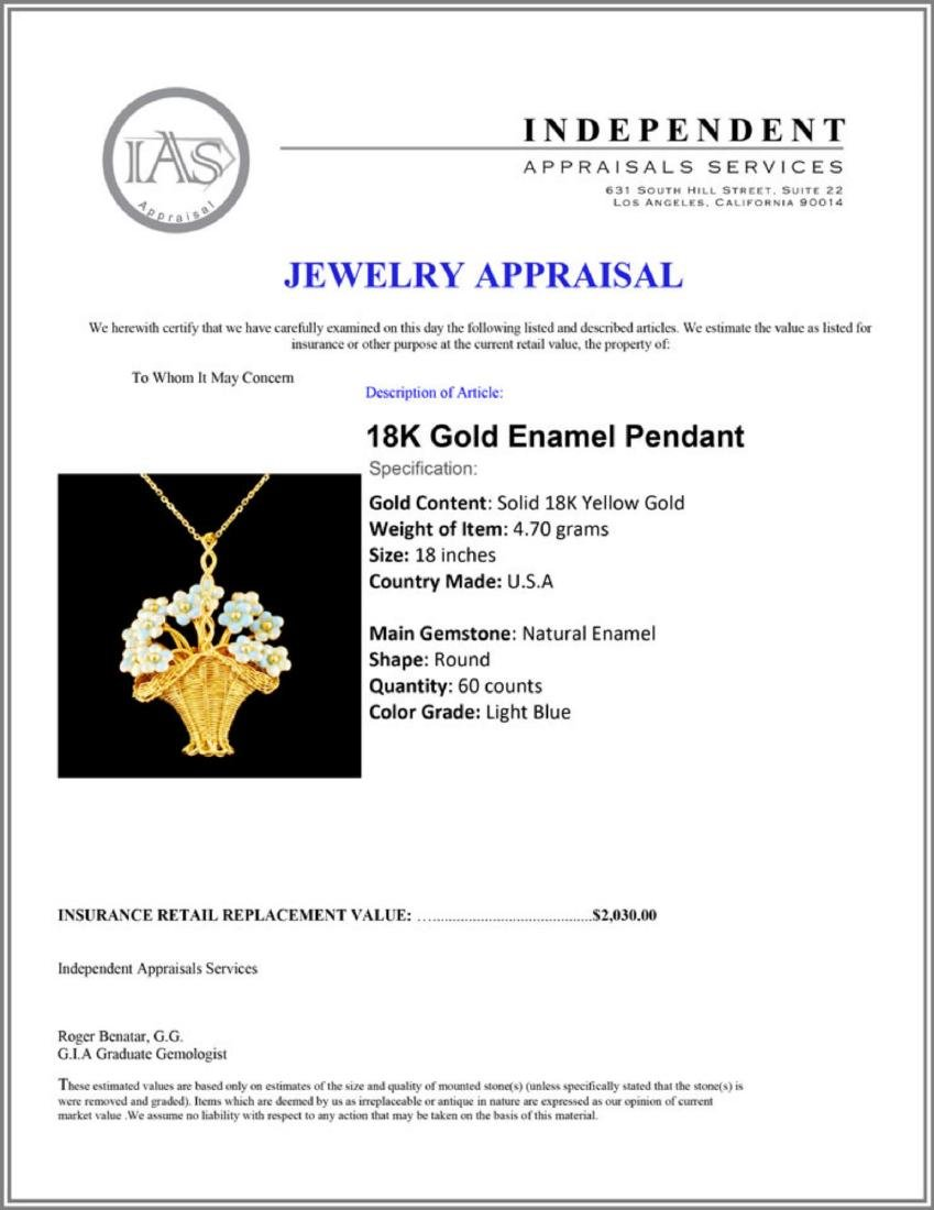 18K Gold Enamel Pendant - 4