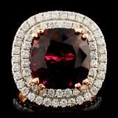 18K Gold 865ct Rubellite 144ctw Diamond Ring