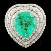 18K Gold 801ct Emerald 285ctw Diamond Ring