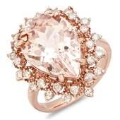 14K Gold 700ct Morganite 075ct Diamond Ring