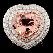 14K Gold 634ct Morganite 217ctw Diamond Ring